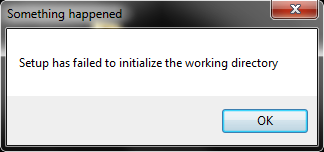 Setup has failed to initialize the working directory